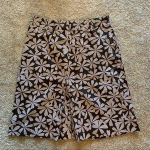 Willi Smith Brown Cream Floral Skirt 6